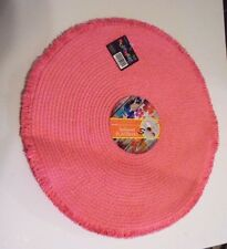 4 Pink Round Fringed Spillproof Place Mat Table Spring Summer Patio Decoration