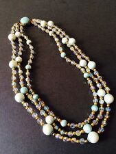 VINTAGE TURQUOISE BEAD AND CRYSTAL NECKLACE MULTI STRAND ORNATE CLASP