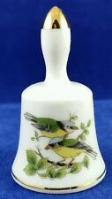 Porcelain Bell with Birds Sparrows Blue Yellow Made in Japan