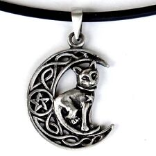 Magic Cat Celtic Crescent Moon Pentacle Witch Wicca Pagan Wiccan Pewter Pendant