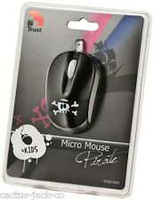 NEW TRUST BLACK & WHITE PIRATE OPTICAL USB MINI MICRO MOUSE
