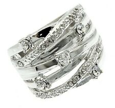 "Womens 3/4"" Silver Tone Raceway Cubic Zirconia Weave Wide Band Ring Size 6 8"