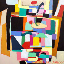 MODERNISM abstract acrylic color block painting canvas 20x20 modern contemporary