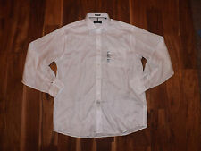 NWT Mens TOMMY HILFIGER Button Front L/S White Collar Shirt L 16-16 1/2 34-35