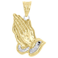 "1/10th 10K Yellow Gold Bonded Two Tone Mini Praying Hands Pendant 1"" Charm"