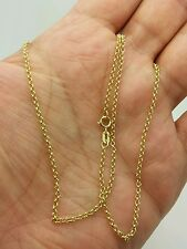 "14k Yellow Gold Round Rolo Link Necklace Pendant Chain 20"" 1.9mm"