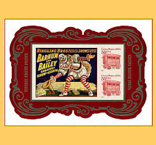 4905c Circus Imperf Souvenir Sheet 3 Stamps from Press Sheet No Die Cut