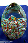 Vintage Art Controlled Bubble Paperweight Multi color & clear Egg