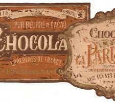 Walpaper Border French Chocolate Labels In Brown,Orange