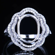 Flower Shape 10K White Gold Pave Semi Mount Oval 12x10mm SI/H Real Diamonds Ring