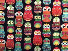 "Matryoshka Owls Russian nesting doll cotton fabric, 45"", sold BTY"