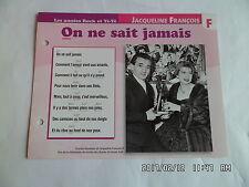 CARTE FICHE PLAISIR DE CHANTER JACQUELINE FRANCOIS ON NE SAIT JAMAIS