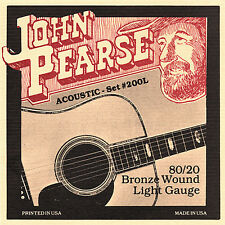 John Pearse 200L 80/20 Bronze Wound Acoustic Guitar Strings light 12-53