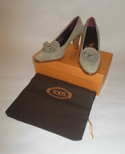 "NWOT TOD'S WOMENS SHOES GRAY PUMP SUEDE ""PELLAMA SHEER"" WITH TASSELS SIZE 35.5"
