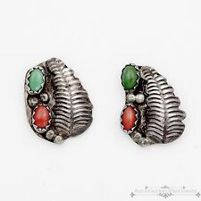 Vintage Native Navajo Pawn Sterling Silver Green Turquoise Red Coral Earrings!