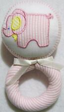 GIRLS PINK STRIPED SEERSUCKER FABRIC ELEPHANT BABY RATTLE~~BABY SHOWER GIFT