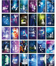 LOT 30PCS Glow in Dark Postcard Alice's Adventures in Wonderland Cards Bulk Set