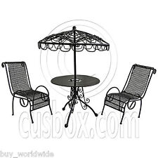 Set Black Metal Outdoor Table Pair Chairs 1:12 Doll's House Dollhouse Furniture