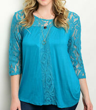 Size 1X SHIRT TOP Womens Plus TEAL 3/4 Sleeve KNIT LACE ARMS Araza NWT NEW