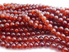 200 x 4mm Crackle Glass Beads Dark Amber Orange, Beads, UK Seller (GLPB9042)