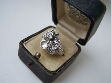 GORGEOUS SOLID STERLING SILVER WOLF WOLVES COUPLE MOONSTONE RING SIZE R RARE