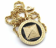 "Mens Round Pyramid Pattern Gold Plated Black 24"" Rope Chain Pendant Necklace"