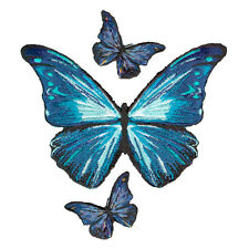 BUTTERFLY BLUE BUTTERFLIES EMBROIDERED PATCH IRON-ON APPLIQUÉ FASHION SET