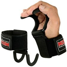 Power Weight Lifting Gym Training Hook Fitness Grips Straps Wrist Bandages Black
