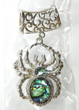 NWT WOMEN'S SILVER FILIGREE SCARF RING WITH ABALONE SPIDER PENDANT, CLEAR STONES