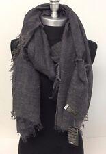 Men's Fashion Linen Scarf Grey Lightweight Tassel Shawl Wrap Soft All Seasons