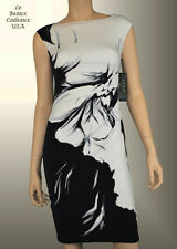 NWT$144 Ralph Lauren Women Dress 14P PETITE Black White Knee Sleeveless Dressy