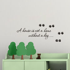 a house is not a home without a dog paw print wall sticker removable vinyl Decal