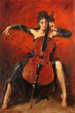Art Oil painting beautiful young girl playing cello red-symphony Hand painted