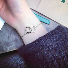 Unisex Silver Handcuffs Chain Bracelet Buckle Bangle Fashion Jewelry Gift
