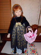"""Christine Orange """"Neve"""" 26"""" tall w/stand porcelain doll free shipping"""