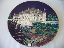 LONGWY M.P. Chevalier Grand plat Château Chenonceaux 46 cm n°42/100