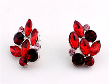 Ethnic Red Rhinestone Glass Crystal Elegant Women Stud Earrings Fashion Jewelry