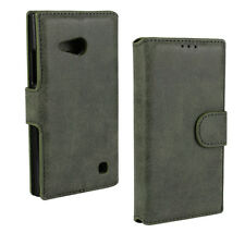 For Nokia Lumia 730 Black Genuine Leather Matt Business Wallet Card Case Cover