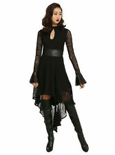Royal Bones Black Lace Bell Sleeve HI-LO Dress Gothic Wicken Vampire Witch XL