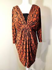 LAURA ASHLEY SMOCK TUNIC DRESS DRAPED GEOMETRIC STRETCH JERSEY BOHO 16 L