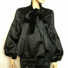 DIANE VON FURSTENBERG black satin jacket with bow - size US 6 - manteau fête
