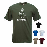 'Keep Calm I'm a Farmer' Farming Young Tractor Funny Gift T-shirt Tee