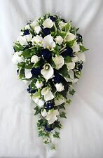 BRIDES TEARDROP BOUQUET, CALA LILIES, NAVY ROSES, ARTIFICIAL WEDDING FLOWERS