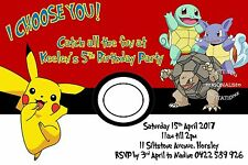 Pokemon Invite Birthday Ball Invitation Party Pikachu Boys Girls Catch