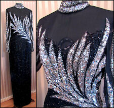 Vintage Custom Beaded Dress Black Silver Art Deco Prom Halter High Neck Feather