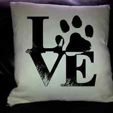 custom made i love paw print cushion / pillow cover  pets name can be added