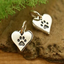 925 Sterling Silver Tiny Dog Paw Print Animal Lover Heart Charm Pendant