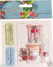 Papermania En Navidad set sello goma transparente de 3 Silla presenta holly amor