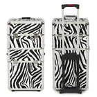 3 in 1 Aluminum Pro. Rolling Makeup Case Salon Cosmetic Organizer Trolley, Zebra
