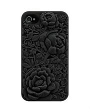 iPhone 4S Black 3D Sculpture Design Rose Flower Case
